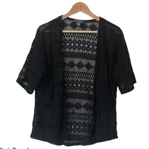 Black Open Faced Sheer Lace Short Sleeve Cardigan